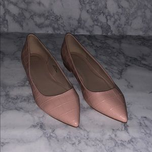 ASOS • pink embossed pointed toe flats
